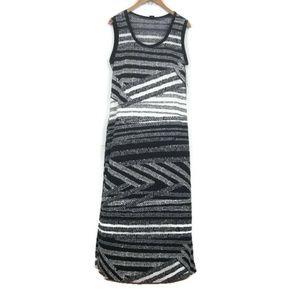 Sunny Taylor Petite Maxi Dress Black Striped PL